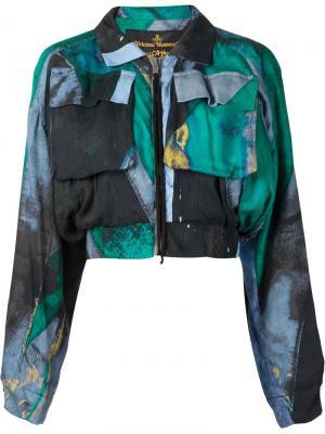 Укороченная куртка-бомбер Game Vivienne Westwood Anglomania. Цвет: зелёный