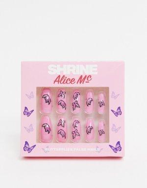 Накладные ногти с рисунком бабочек X Alice MC-Мульти The Shrine