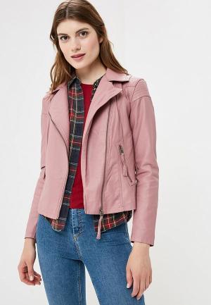 Куртка кожаная Jacqueline de Yong. Цвет: розовый