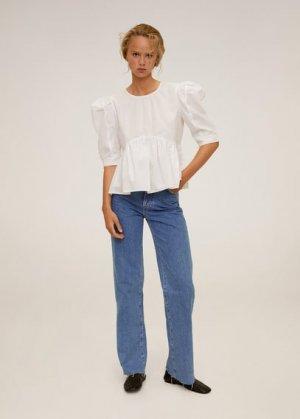 Рубашка с рукавами-фонариками - Sia-h Mango. Цвет: грязно-белый
