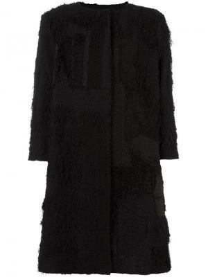 Текстурированное пальто с рукавами три четверти By Walid. Цвет: чёрный