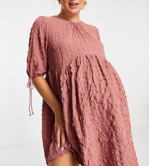 Розовое фактурное платье мини с присборенной юбкой и завязками ASOS DESIGN Maternity-Розовый цвет Maternity
