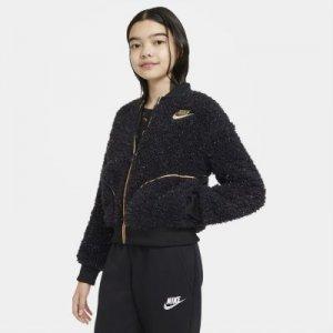 Куртка из материала Sherpa с молнией во всю длину для девочек школьного возраста Sportswear - Черный Nike