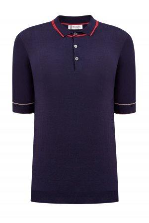 Хлопковый джемпер-поло с отделкой в стиле теннисной униформы BRUNELLO CUCINELLI. Цвет: синий