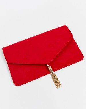 Клатч с кисточками -Красный ASOS DESIGN
