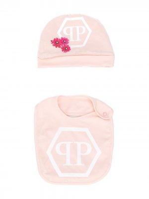 Комплект из нагрудника и шапки с логотипом Philipp Plein. Цвет: розовый