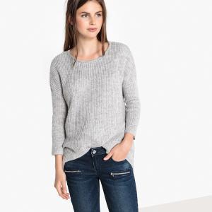 Пуловер с круглым вырезом, асимметричный спереди LPB WOMAN. Цвет: серый меланж