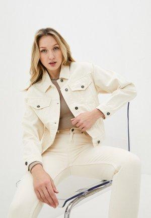 Куртка джинсовая Снежная Королева. Цвет: бежевый
