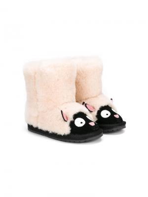 Ботинки с дизайном в виде овцы Emu Kids. Цвет: белый