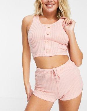 Розовый комплект для дома с шортами и майкой припудренно-розового цвета в рубчик Naomi-Розовый цвет Brave Soul