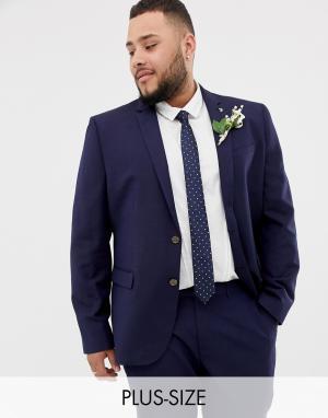 Приталенный пиджак из ткани с добавлением льна Farah Wedding-Темно-синий Smart