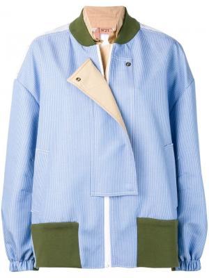 Полосатая куртка-бомбер в технике пэчворк Nº21