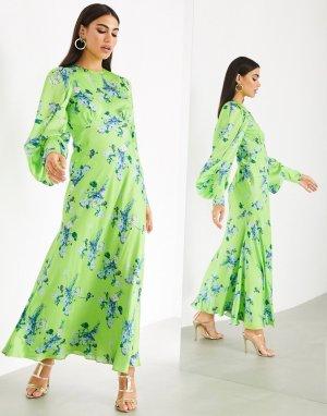 Атласное платье макси с цветочным принтом -Многоцветный ASOS EDITION