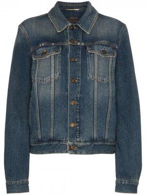 Джинсовая куртка с принтом логотипа Saint Laurent. Цвет: синий