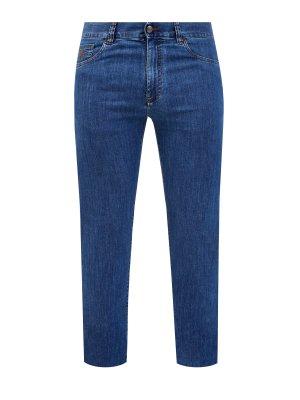 Классические джинсы прямого кроя с контрастной прострочкой CANALI. Цвет: синий