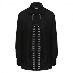 Блуза из смеси шелка и хлопка с бантом Elie Saab. Цвет: чёрный