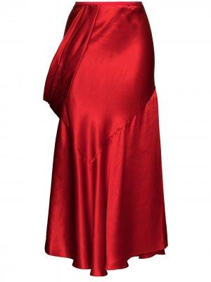 Юбка миди асимметричного кроя Simone Rocha. Цвет: красный