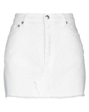 Джинсовая юбка DOUUOD. Цвет: белый