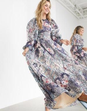 Розовое платье с большими вышитыми цветами и завязкой -Мульти ASOS EDITION