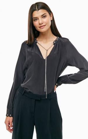 Шелковая блуза с декоративной цепочкой MICHAEL Kors. Цвет: черный