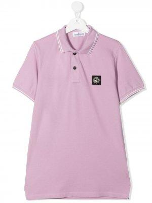 Рубашка поло с нашивкой-логотипом Stone Island Junior. Цвет: розовый