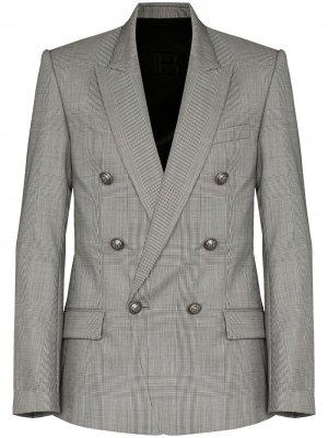Двубортный пиджак в клетку глен Balmain. Цвет: серый