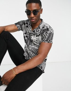Черная рубашка с короткими рукавами и абстрактным принтом -Черный цвет New Look
