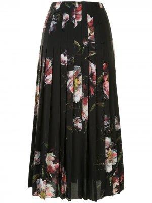 Плиссированная юбка Bennie с цветочным принтом Altuzarra. Цвет: черный