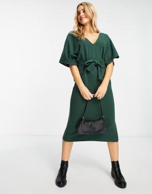 Темно-зеленое мягкое платье-джемпер миди с V-образным вырезом и поясом -Зеленый цвет ASOS DESIGN