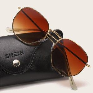 Мужские солнцезащитные очки в металлической оправе SHEIN. Цвет: коричневые