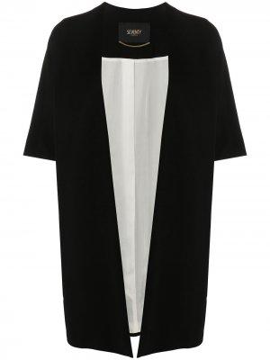 Пальто-кардиган с короткими рукавами и драпировкой Seventy. Цвет: черный