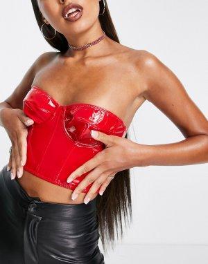 Красный виниловый корсет на Хэллоуин ASOS DESIGN