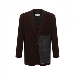 Шерстяной пиджак Maison Margiela. Цвет: коричневый