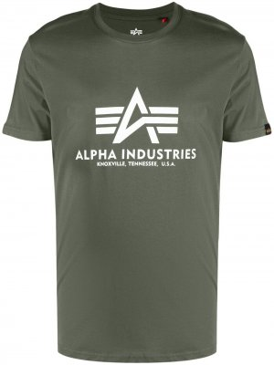 Футболка с логотипом Alpha Industries. Цвет: зеленый