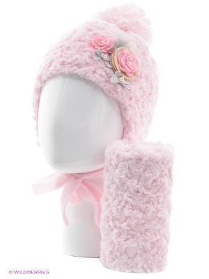 Шапка, шарф Jamiks. Цвет: розовый