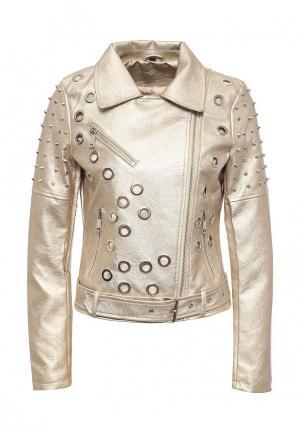 Куртка кожаная Adrixx. Цвет: золотой