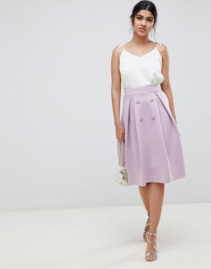 Двубортная юбка миди для выпускного -Фиолетовый ASOS DESIGN