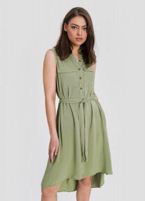 Платье-рубашка из вискозы O`Stin. Цвет: светлый хаки