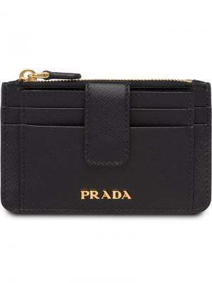 Футляр для кредитных карт Prada. Цвет: черный