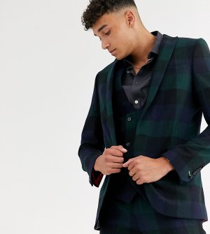 Зеленый супероблегающий пиджак в клетку Tall-Зеленый цвет Twisted Tailor