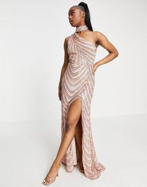 Персиково-золотистое платье макси с горловиной-чокером и разрезом до бедра -Золотистый Goddiva