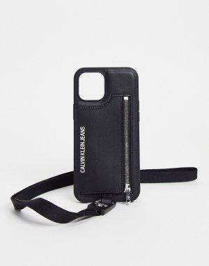 Черный чехол для телефона с ремешком Calvin Klein Jeans