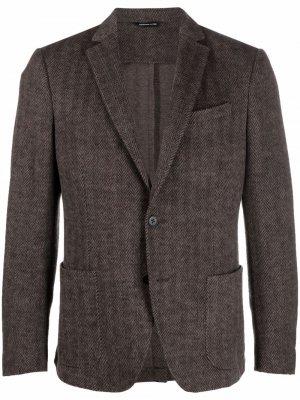 Шерстяной однобортный пиджак Tonello. Цвет: коричневый