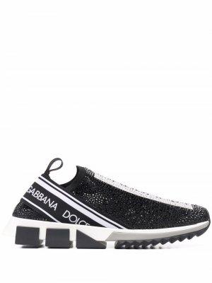 Кроссовки-носки Sorrento с кристаллами Dolce & Gabbana. Цвет: черный