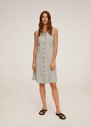 Платье-рубашка с пуговицами - Bowie Mango. Цвет: пастельный светло-серый
