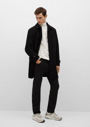 Длинное пальто из переработанной шерсти - Charing Mango. Цвет: черный