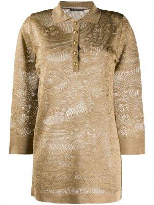 Рубашка-поло с длинными рукавами и кружевом Alberta Ferretti. Цвет: нейтральные цвета