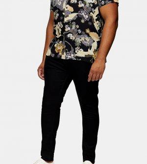 Черные зауженные джинсы с напылением Big & Tall-Черный цвет Topman