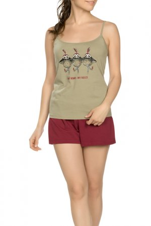 Комплект - майка, шорты Pelican. Цвет: оливковый(30)