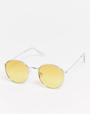 Серебристые круглые солнцезащитные очки с желтыми стеклами -Золотистый Topman